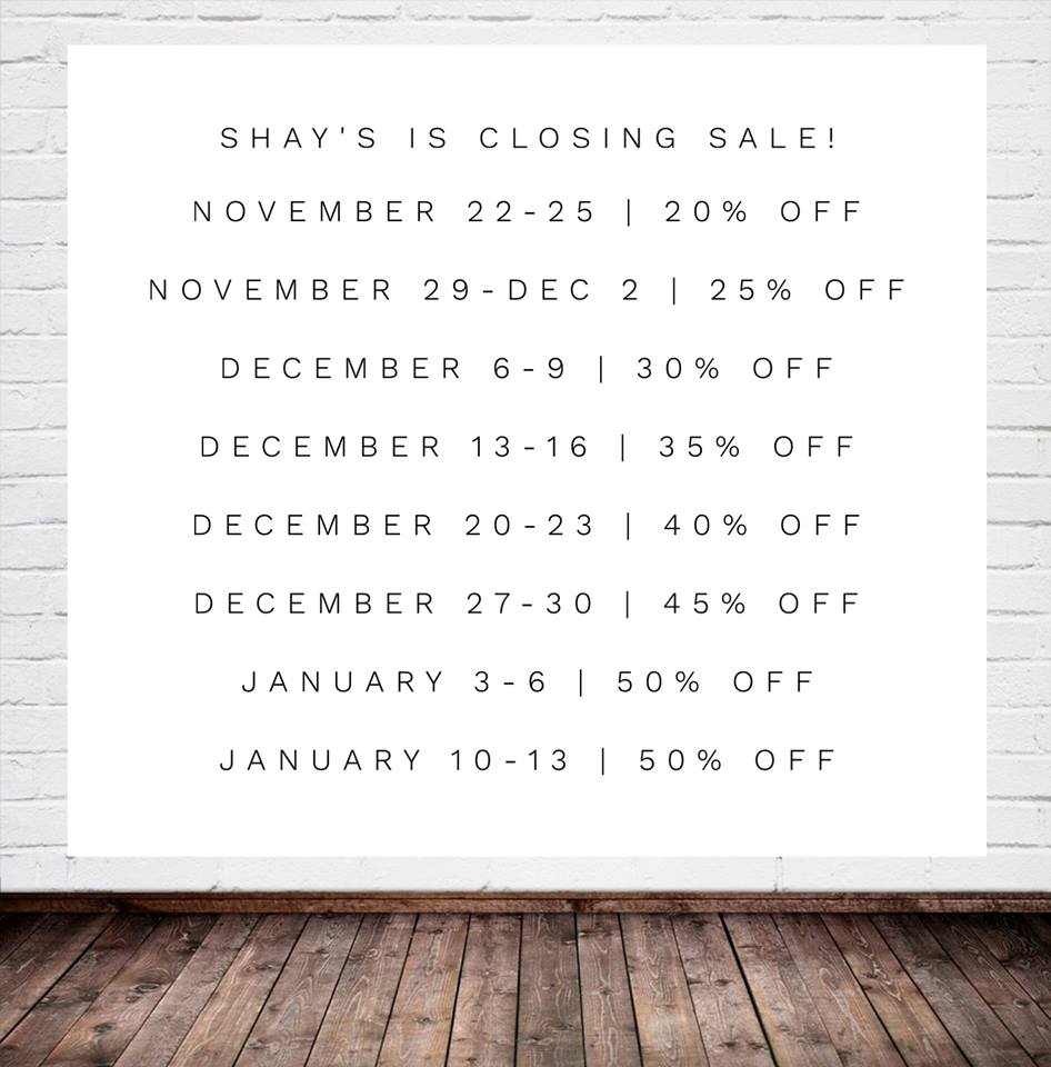 Shay's Unique Gifts is offering a closing sale this holiday season.