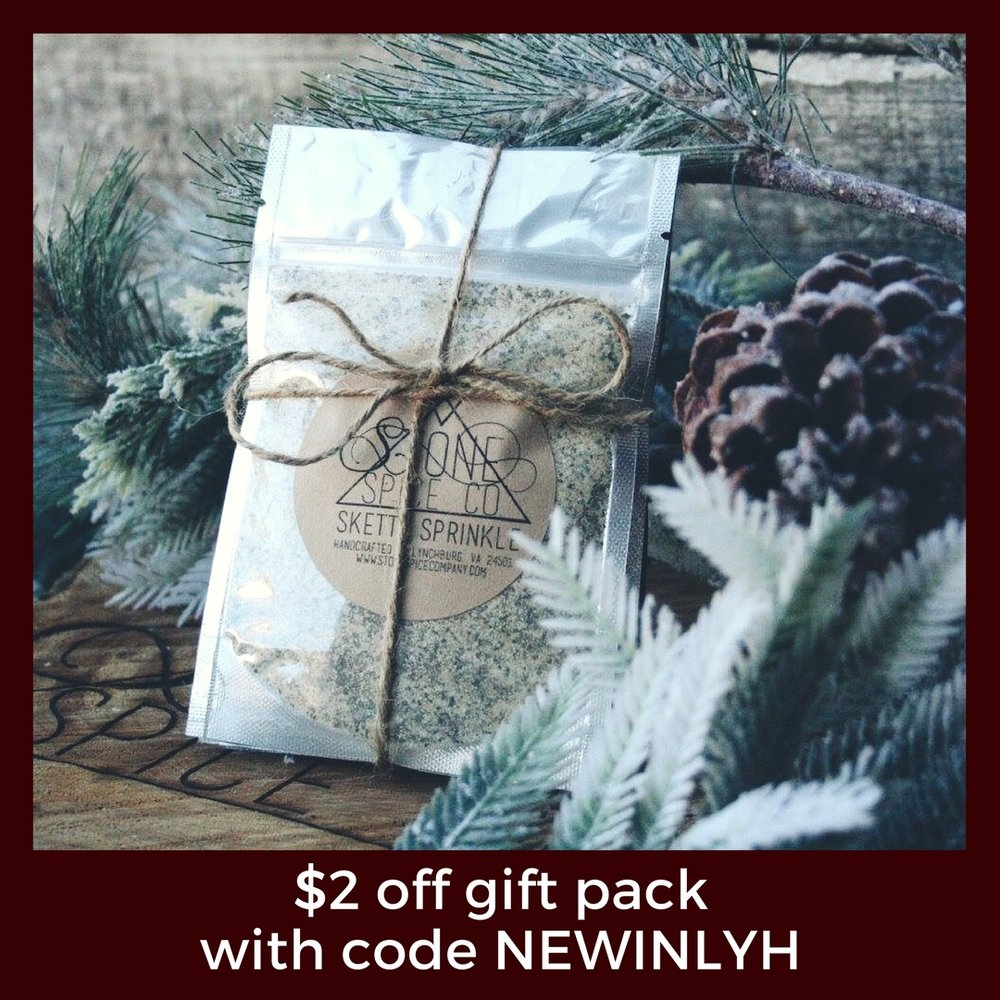 Stone Spice Company is offering $2 OFF their gift pack when you use the code NEWINLYH.
