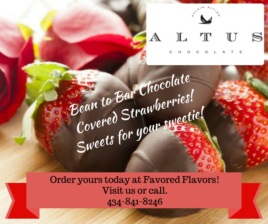 Favored Flavors - Buy Bean to Bar Chocolate covered strawberries, sweets for your sweetie this Valentine's Day! Order through Altus Chocolate or  Favored Flavors for Chocolate Covered Strawberries straight from Altus Chocolate. Cost: $2.50 each | 6ct for $15 | 9ct for $21.50 | 12ct for $28