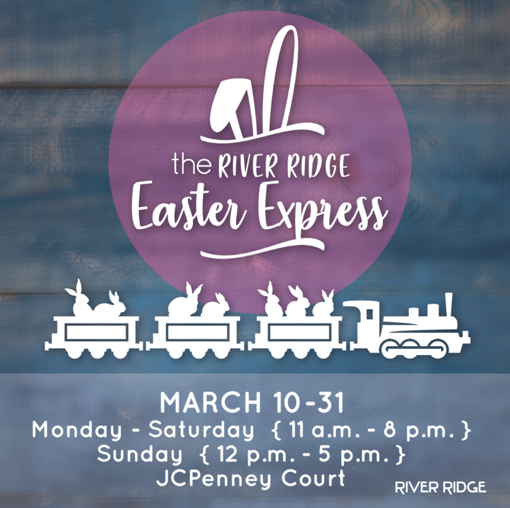 the easter express @ river ridge mall  March 10th-31st at 11am-8pm (Mon-Sat) & 12pm-5pm (Sun)  3405 Candlers Mountain Rd. Lynchburg, VA 24502  Hop on the Easter Express! Individual ride $2 & caboose club (5 rides) is $6.