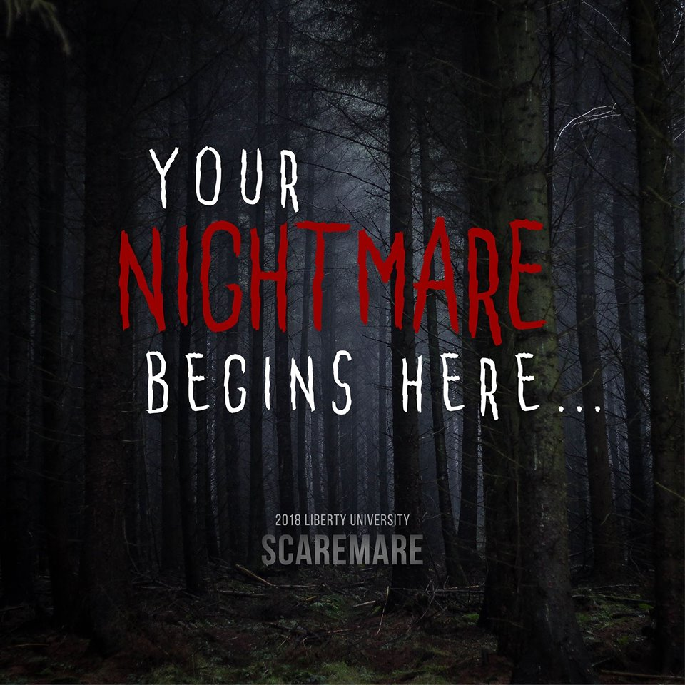 Scaremare - October 11-13, 18-20, 25-27, $10 general admission/$5 for students and military2300 Caroll Avenue, Lynchburg, VAPrepare to feel terrified as you walk through haunted warehouses and forest. This annual haunted house put on by Liberty University is a Halloween tradition.