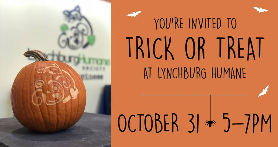 Trick or Treat at Lynchburg Humane - 5-7pm, Lynchburg Humane SocietyWe would like to invite you and all of the little ghouls, goblins, witches and superheroes to stop by Lynchburg Humane to trick or treat on Halloween. We will have volunteers stationed at various cat rooms to help give a real