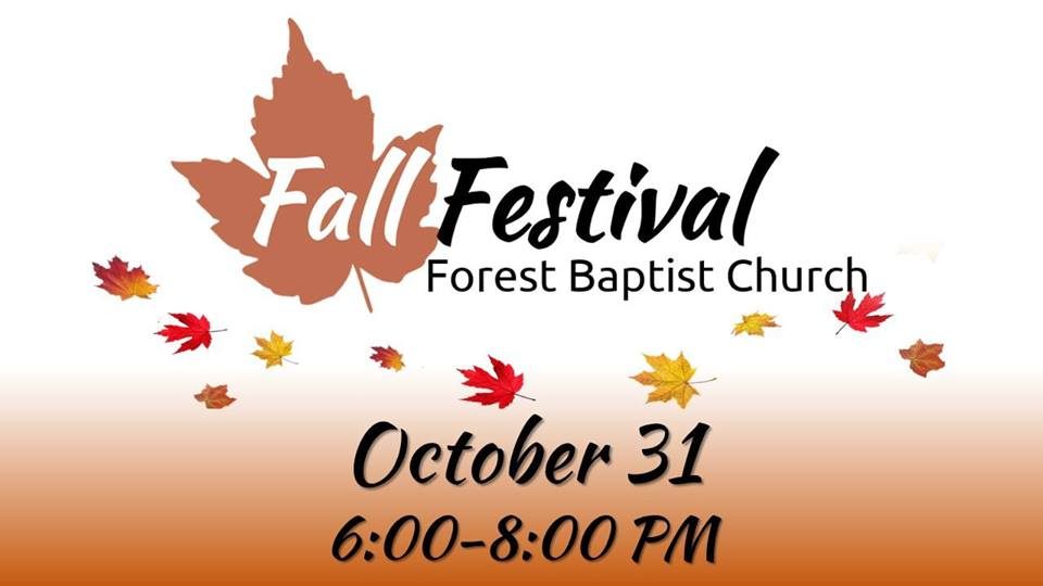 Forest Baptist Church Fall Festival - 6-8pm, 1313 Two Church Lane, Forest, VAFree Family Fun! Trunk-or-Treat, bounce houses, hay ride, refreshments, brunswick stew, photo booth, & more!
