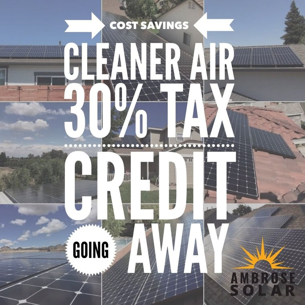 Be sure to take advantage of the 30% Federal Tax Credit before it goes away at the end of the year. There is LIMITED TIME available to get this credit. ACT NOW and call Ambrose Solar TODAY!
