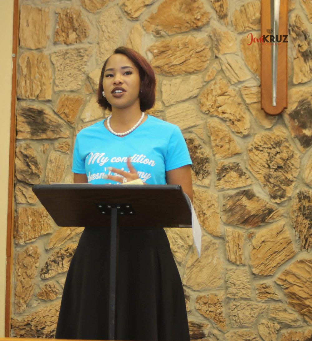 Maranda Evans speaks at Mental Health Matter event in Opelousas, LA. September 10, 2017. Photo credit: Jalika Mercer of Joni Kruz Photography.