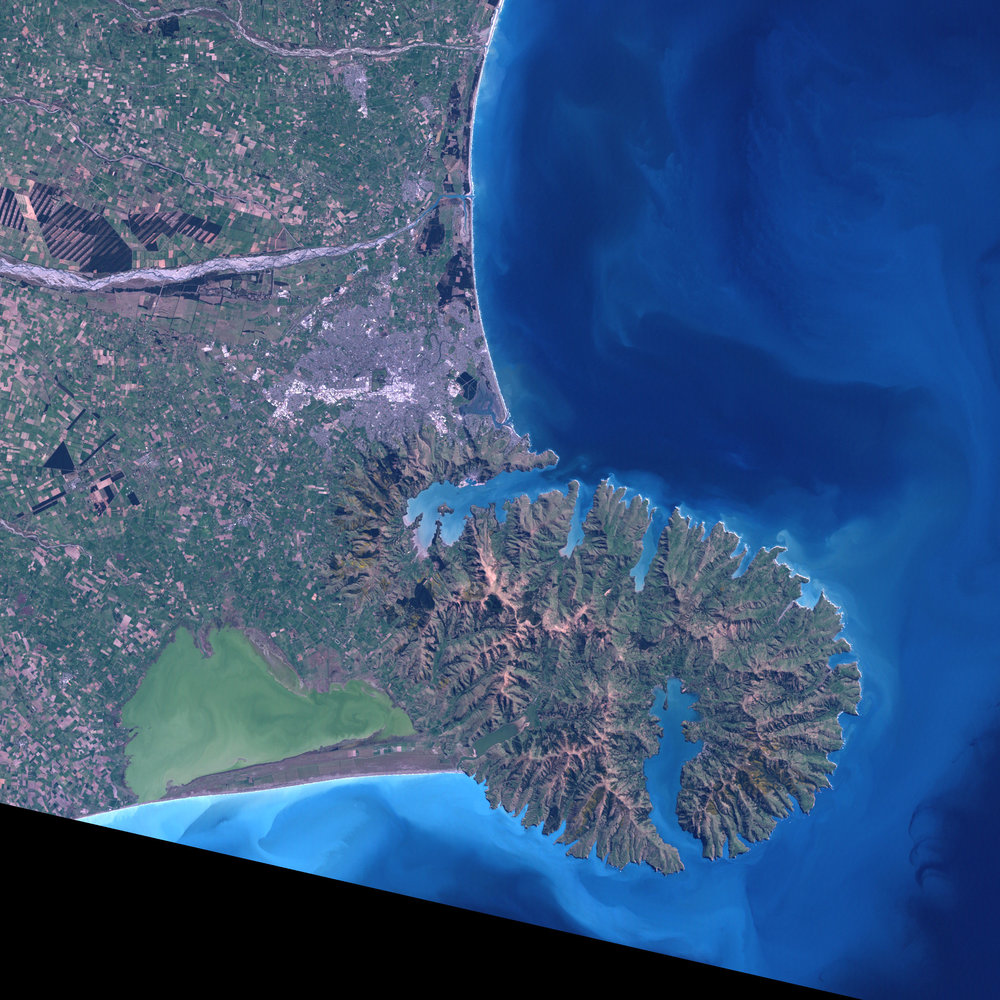 Satellite image of Banks Peninsula. Te Waihora is the murky green body of water at the bottom left.  Image by Jesse Allan/LANDSAT 7 via NASA/Earth Observatory.