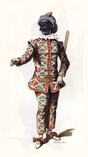 Illustration of Harlequin by Maurice Sand.