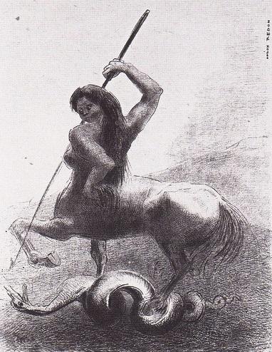 Redon, Planche VI:  Il y eut des lutes et de vaines victoires   (There were struggles and vain victories)