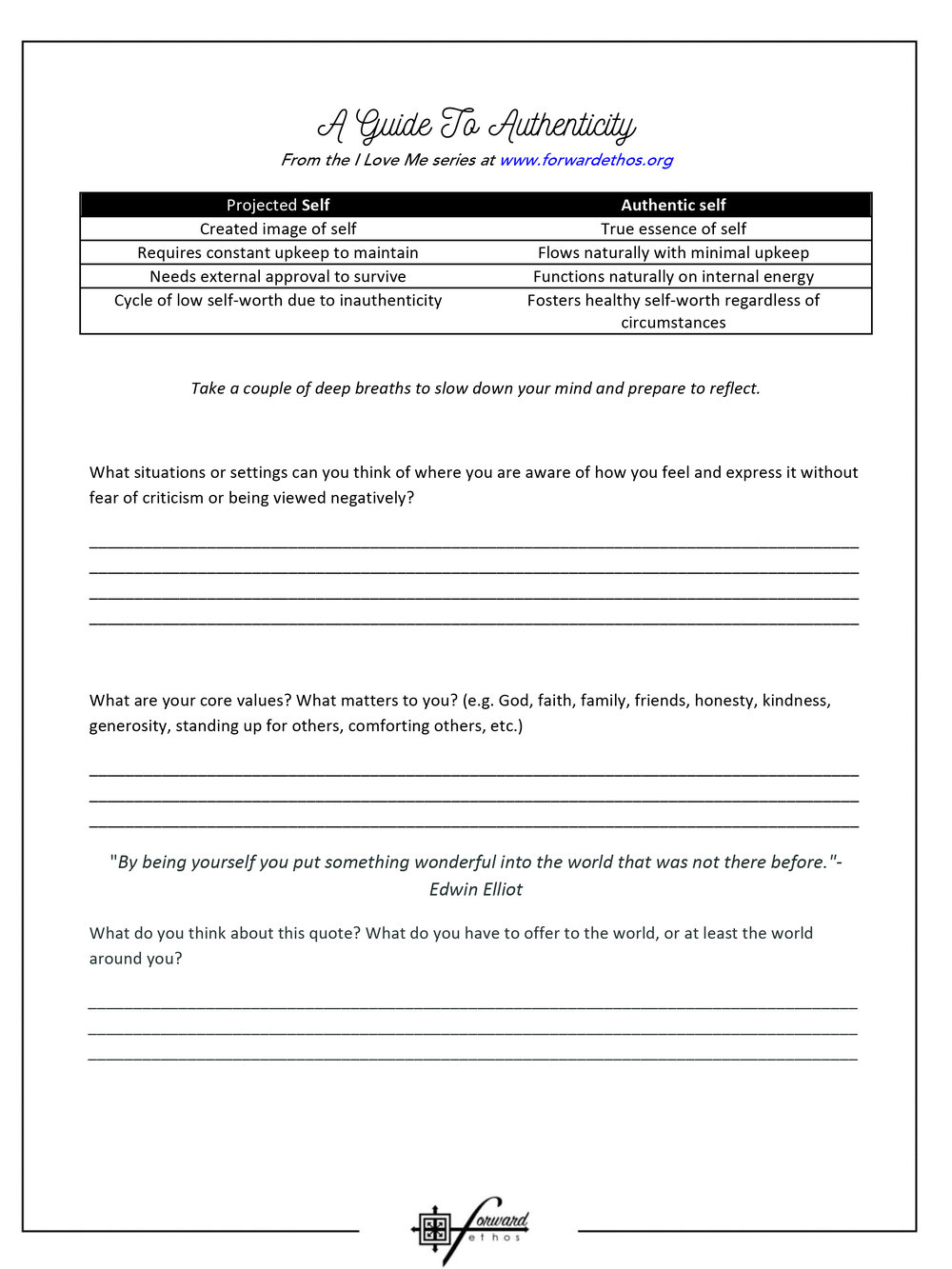 All Worksheets — Forward Ethos