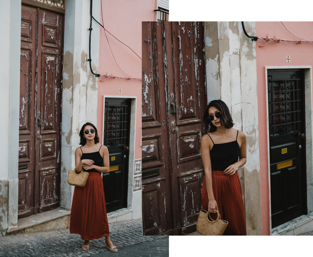 Exploring the historical town centre in Club Monaco top (similar  here  and  here ), Sylvie & Shimmy trousers (similar  here  and  here ),   Soludos  sandals , and Etsy  bag  (similar  here ).