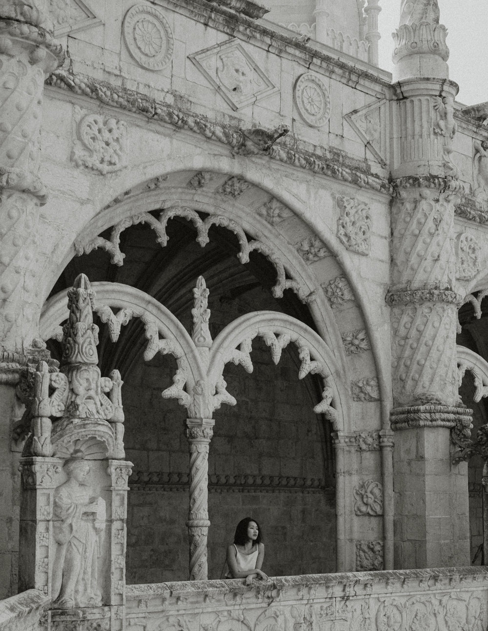 Taking a moment at   Jerónimos Monastery in Belém  .