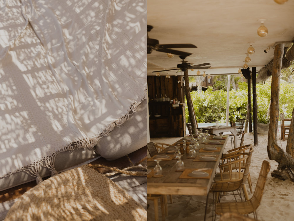 Sunlit textures and the restaurant at Be Tulum.