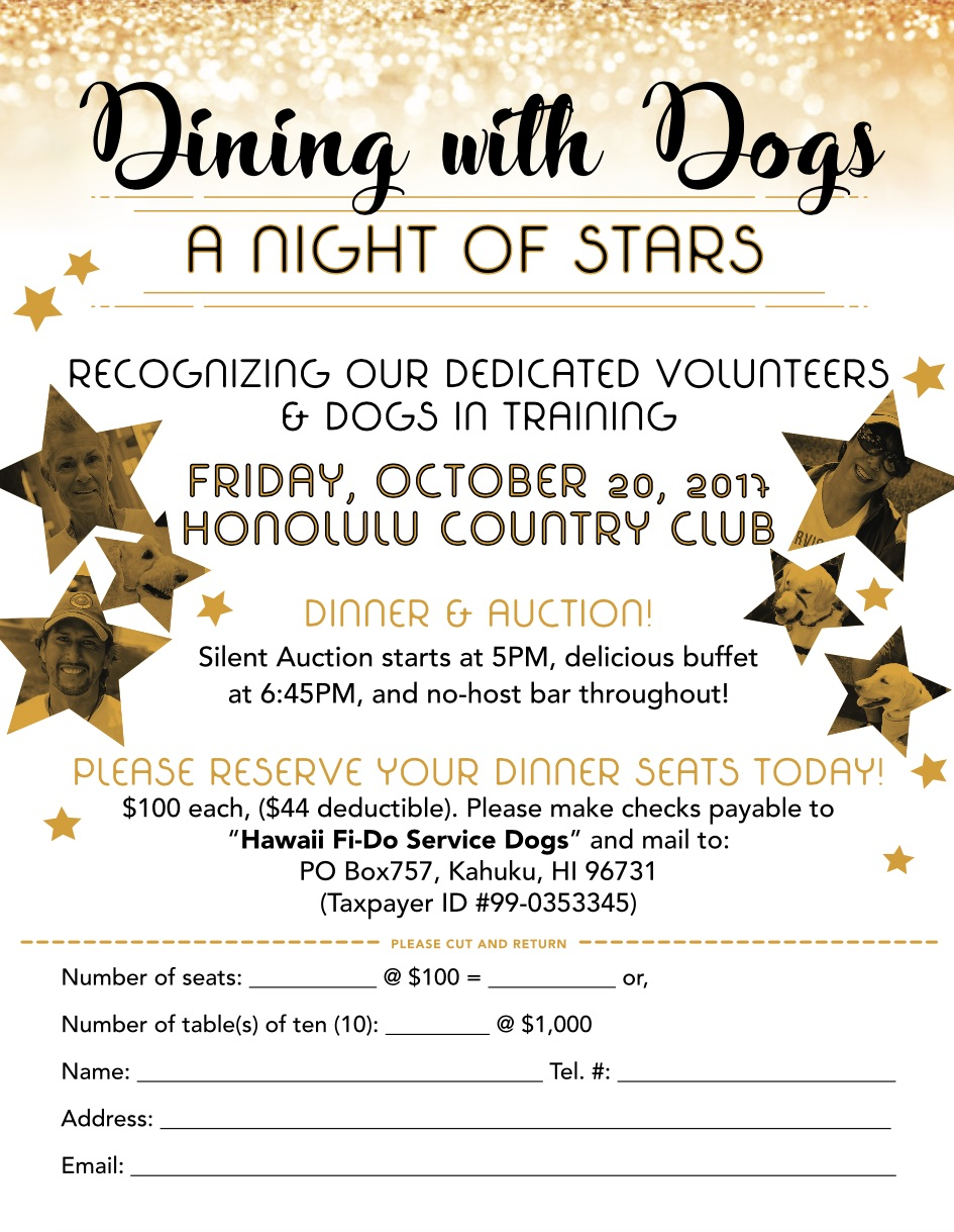 3rd Annual Dining With Dogs Fundraiser Dinner Hawaii Fi Do