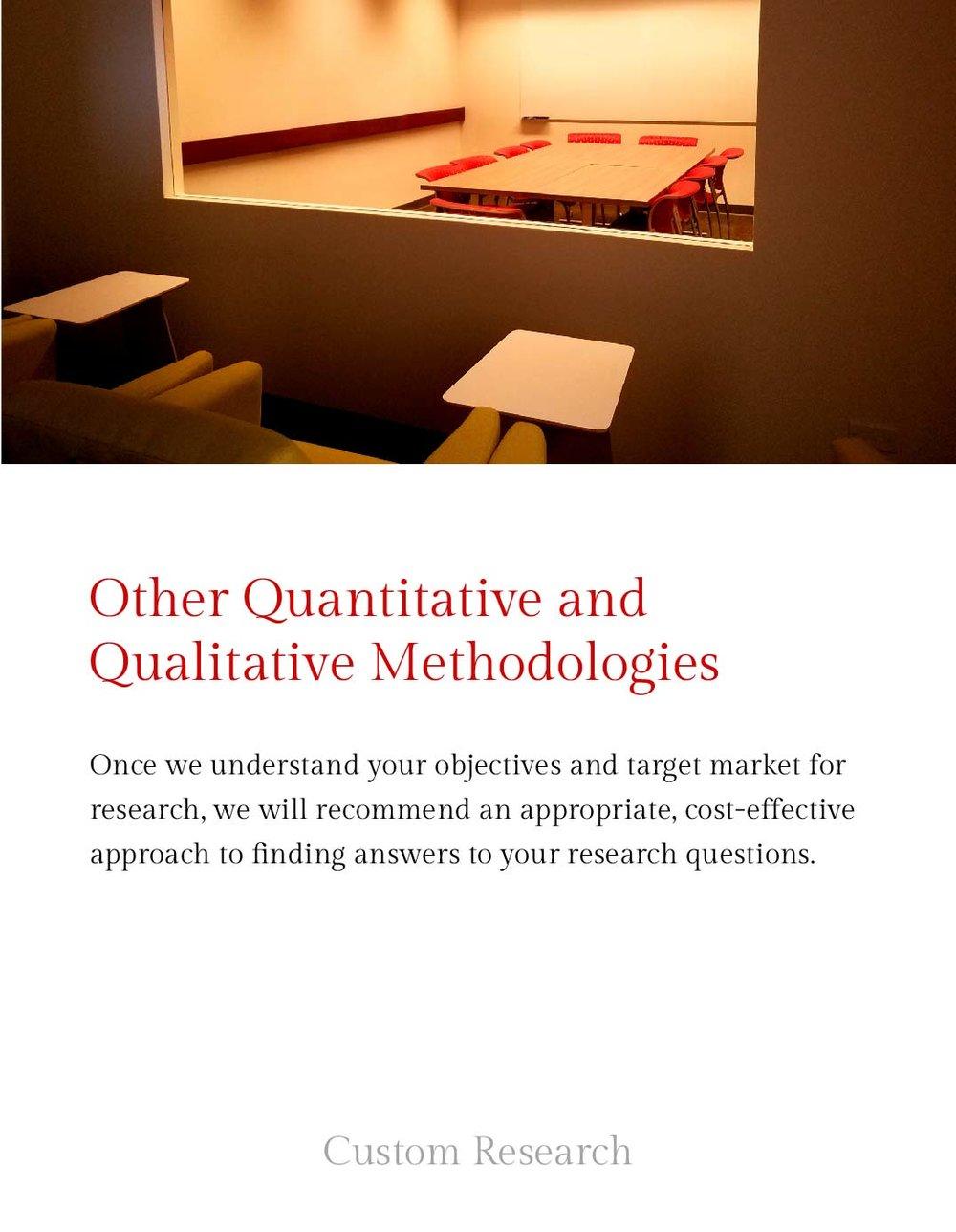 Other Quantitavtive and Qualitative Methodologies