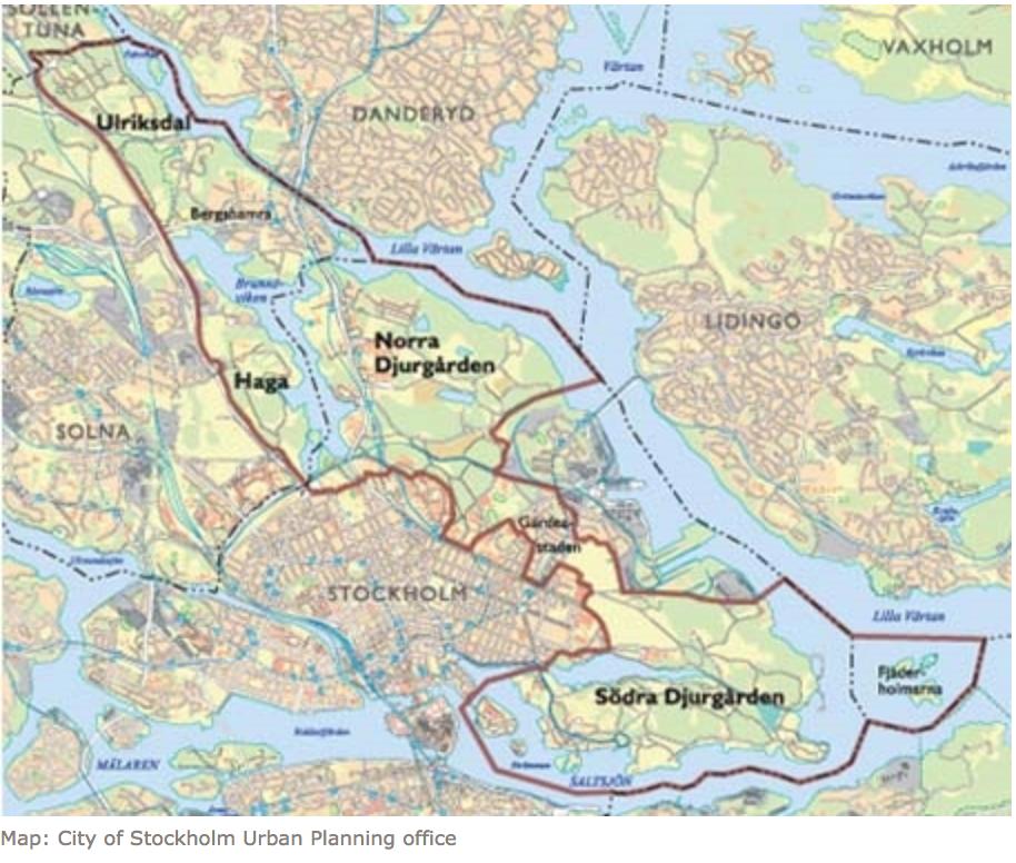 Figure 1  . Stockholm National City Park, taking in the Ulriksdal–Haga–Brunnsviken–Djurgården areas.