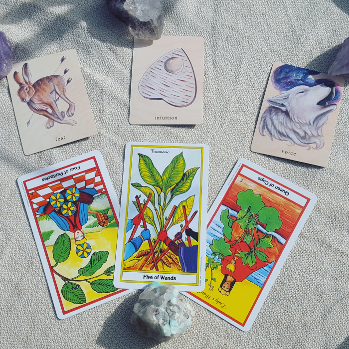 Cards from the Herbal Tarot and the Earthbound Oracle
