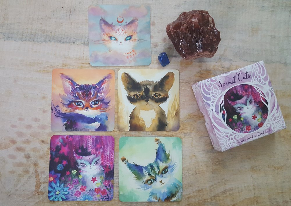 my tarot for journeying together spread with the Spirit Cats deck by Nicole Piara