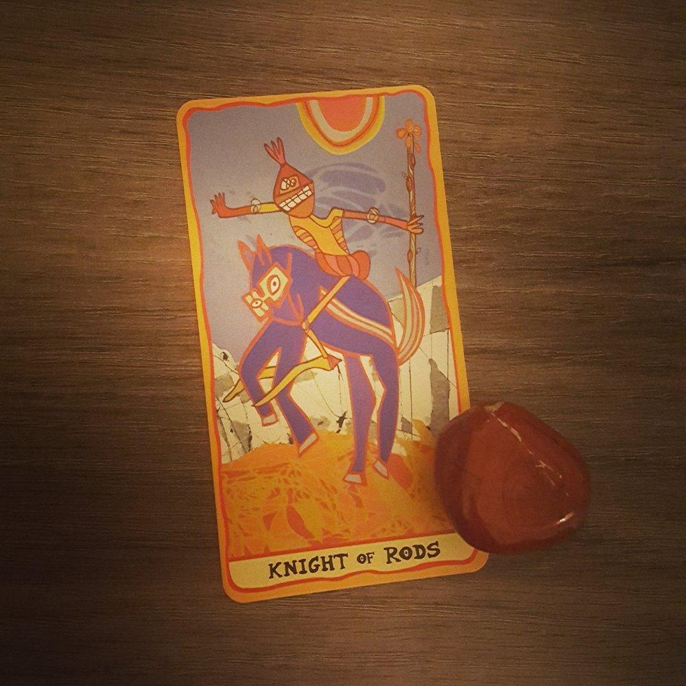 Knight of Rods from the Sakki Sakki Tarot