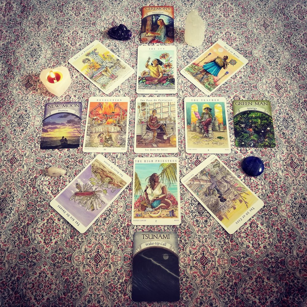 my own look into 2018 with The Seer's Compass Spread; cards from the Next World Tarot and the Earth Magic Oracle
