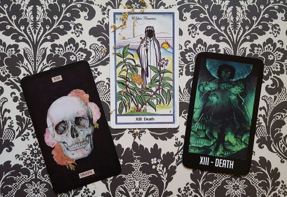 Death from the Stretch Tarot, Herbal Tarot, and Night Vale Tarot