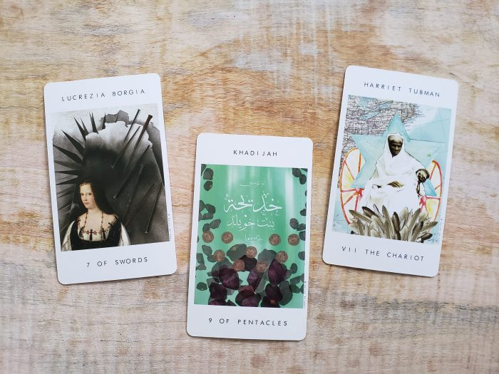 Seven of Swords, Nine of Pentacles, and The Chariot from Our Tarot