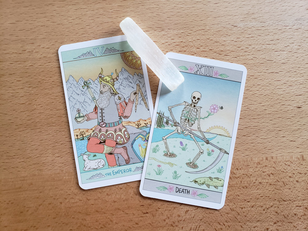 As always, I have to feature my Birth cards: The Emperor and Death. I can't describe the squee sound I made when I saw the soft lamb at the Emperor's feet and the bee on their spaulder.