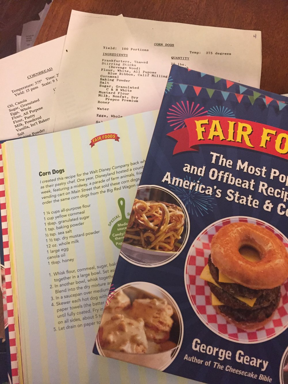 My Original Disney Formula's of Big Thunder Ranch Cornbread, Little Red Wagon Corn Dogs and my Newest Cookbook :  Fair Foods