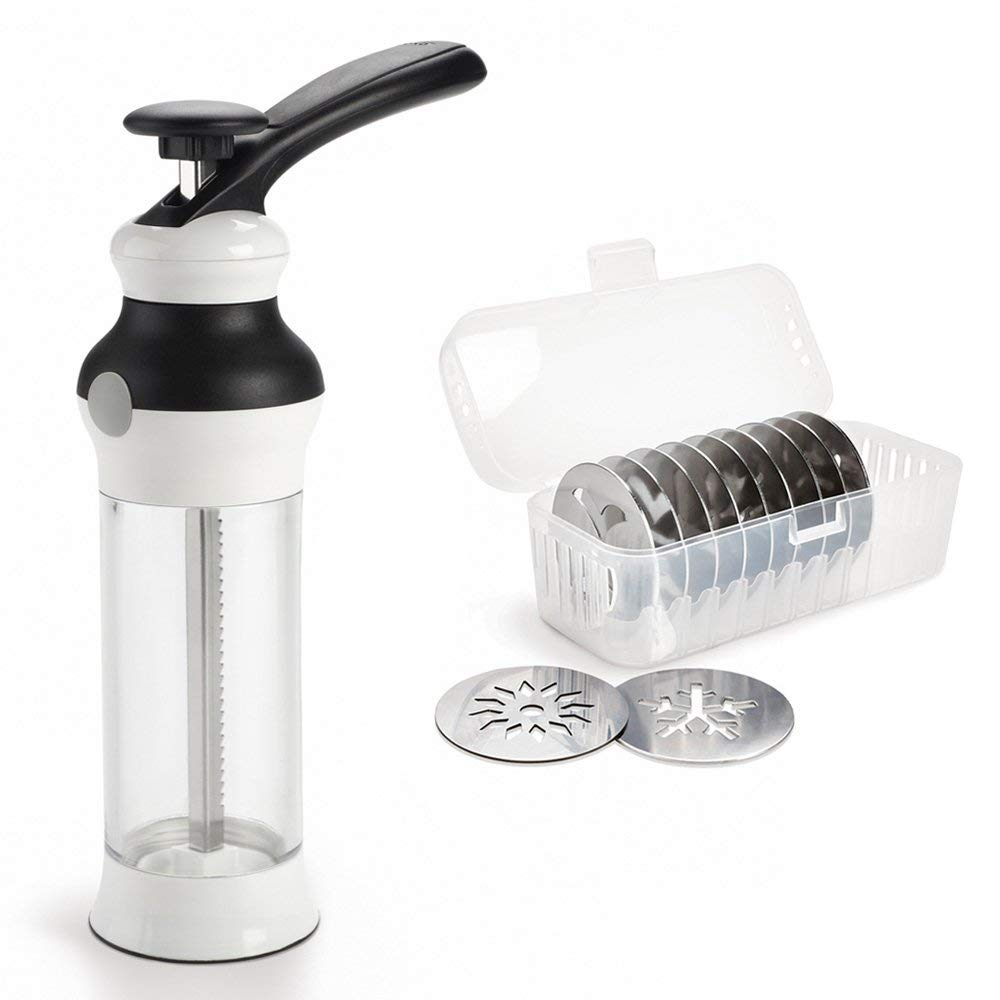 Oxo Cookie Press on Amazon.  Buy it Here . It really is the best on the market with disks for every holiday!