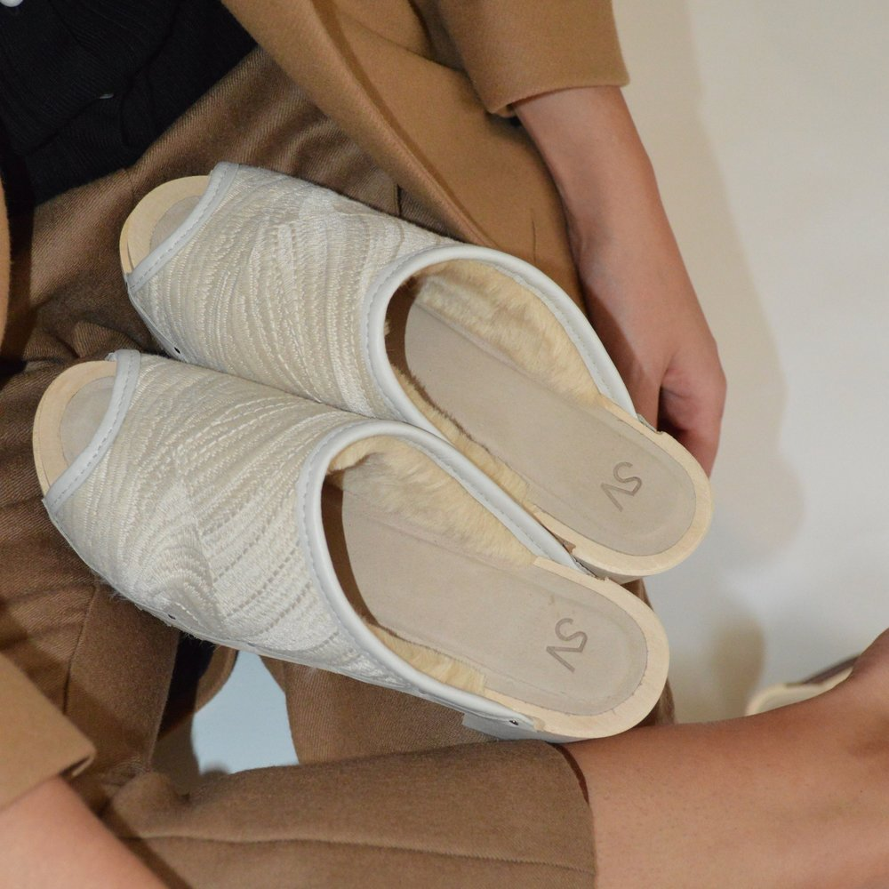 SHOP THIS STORY - Shearling lined clogs