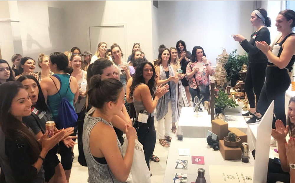 Founder of Your Local Girl Gang, Maria LeFebre, and Owner of Harness Cycle Anne Hartnett, thanking the Girl Gang for attending the event and making announcements. Photo by of Kate Kaput @heyescapist