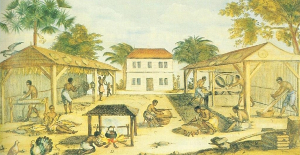 Slaves working hard on a Virginia Tobacco plantation circa 1670. Author unknown. Public Domain.