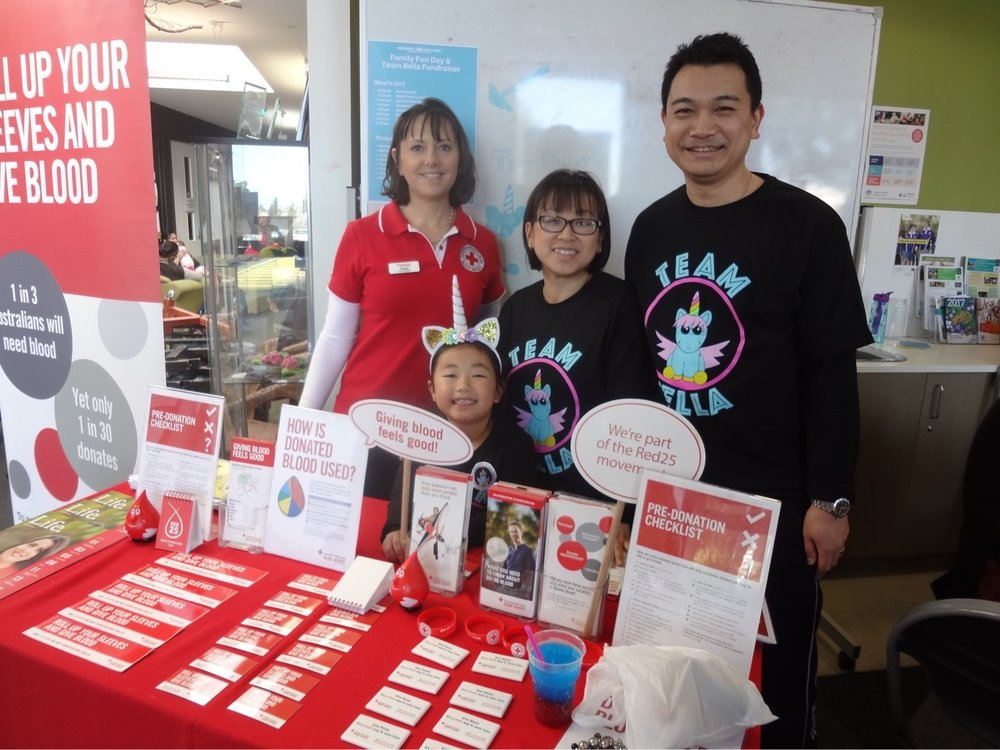 Bella's family with Tracy from the Australian Red Cross Blood Bank