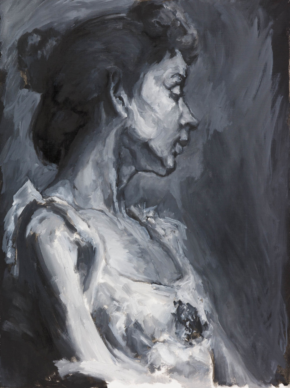 B&W Study of Henry Ossawa Tanner's Portrait of the Artist's Wife