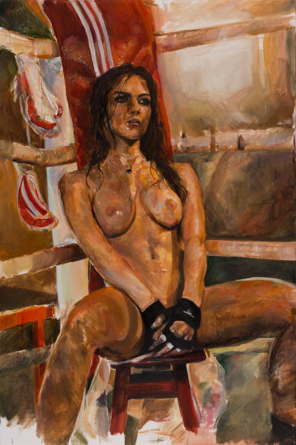 "Media : Oil on Canvas  Size : 24"" by 36""  Date : Dec 2016   PURCHASE PRINT  (Request)   Ref Photogrpaher :  Christian Gaul   Ref Model : Aline Franzoi"