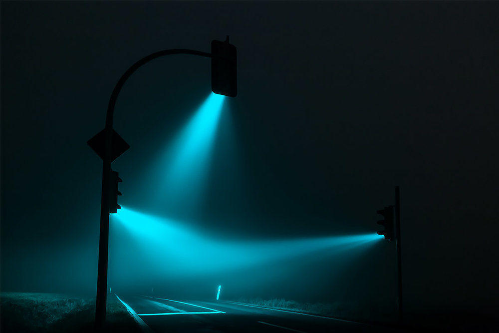 blue traffic lights night picture by Andreas Levers