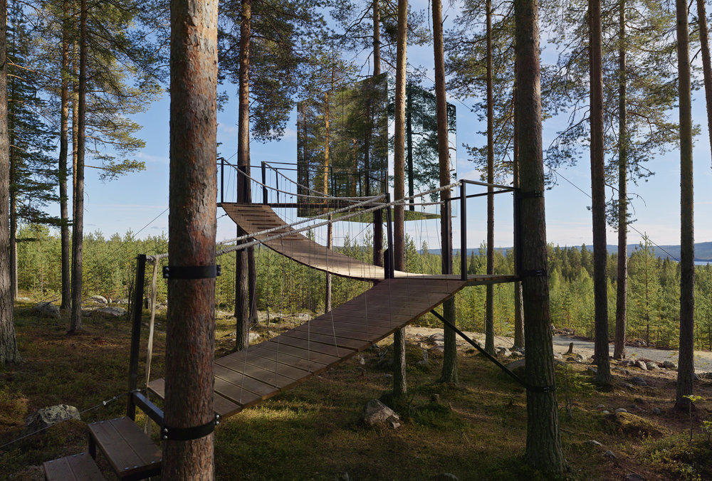 suspended walking path to access the mirror tree house by tham & videgård arkitekter