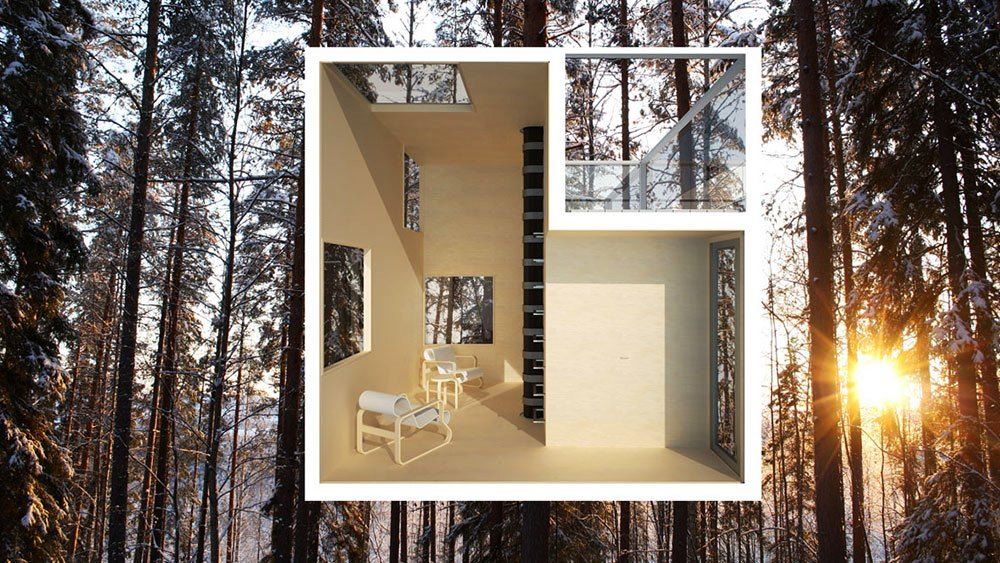 rendering of the interior space inside the mirror tree house in sweden