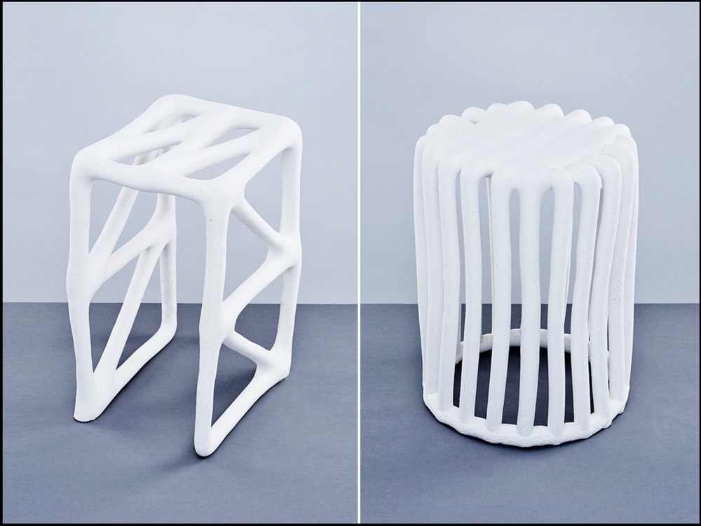 Two White Stools Made With Innovative Additive Manufacturing Technique