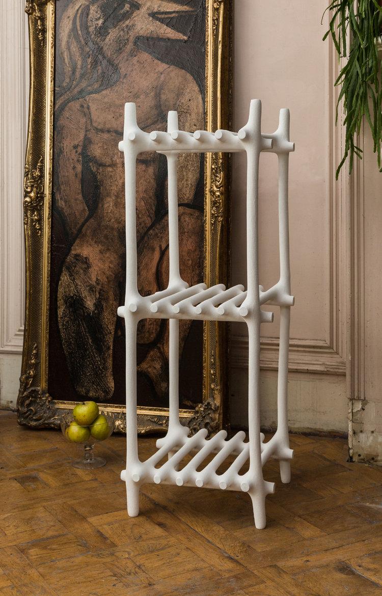 white modern rack furniture made of sand and nylon poweder