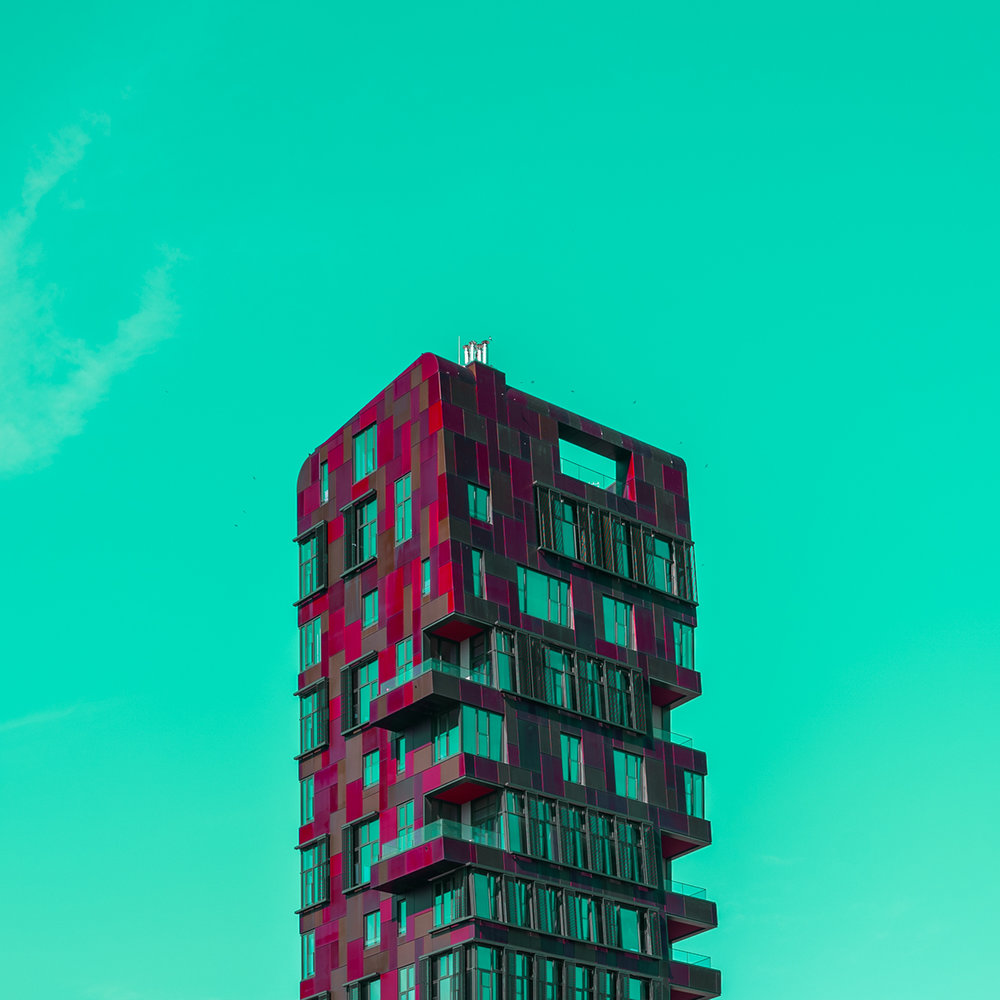 Minimalistic picture of colourful building in Hamburg with green sky