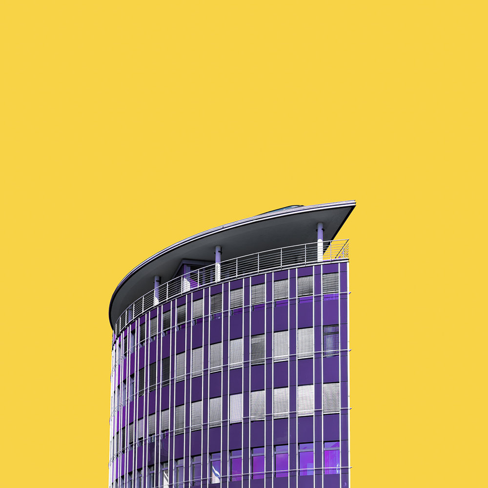 Purple sail building in Hamburg with yellow sky