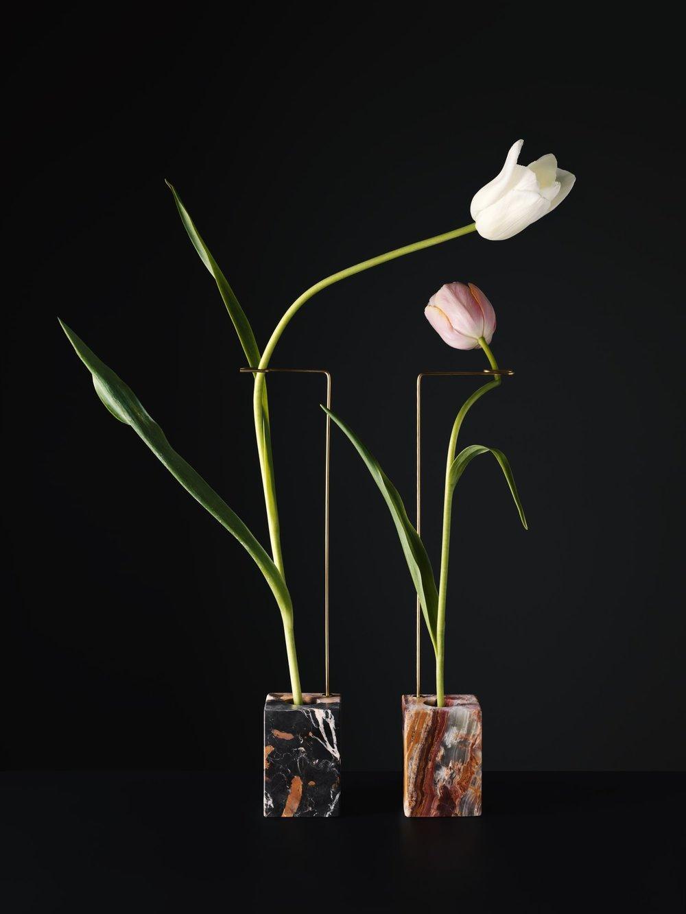 Modern minimalistic marble vases