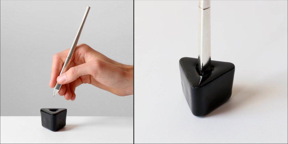 Triangular pen and pen holder by kamp studio