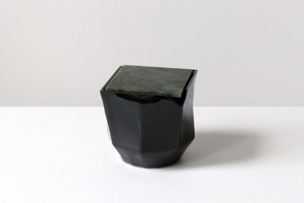 Black geometric large harmony vessel by kamp studio