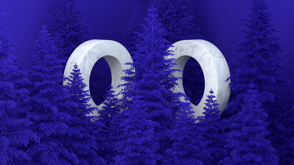 Computer graphics artwork depicting purple pine trees and marble rings