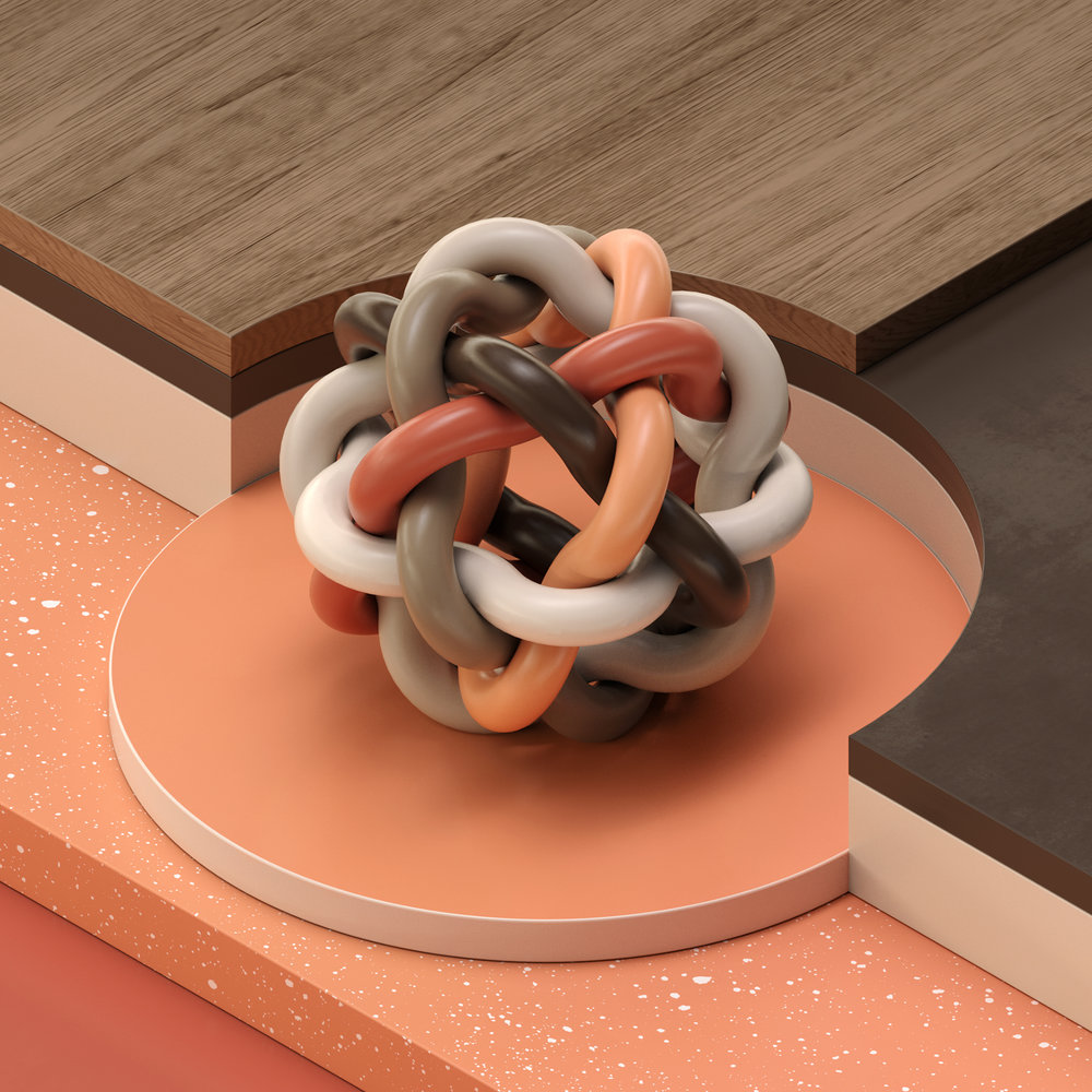 Surreal centrepiece by Andreas Wannerstedt with smooth curves and glossy surfaces