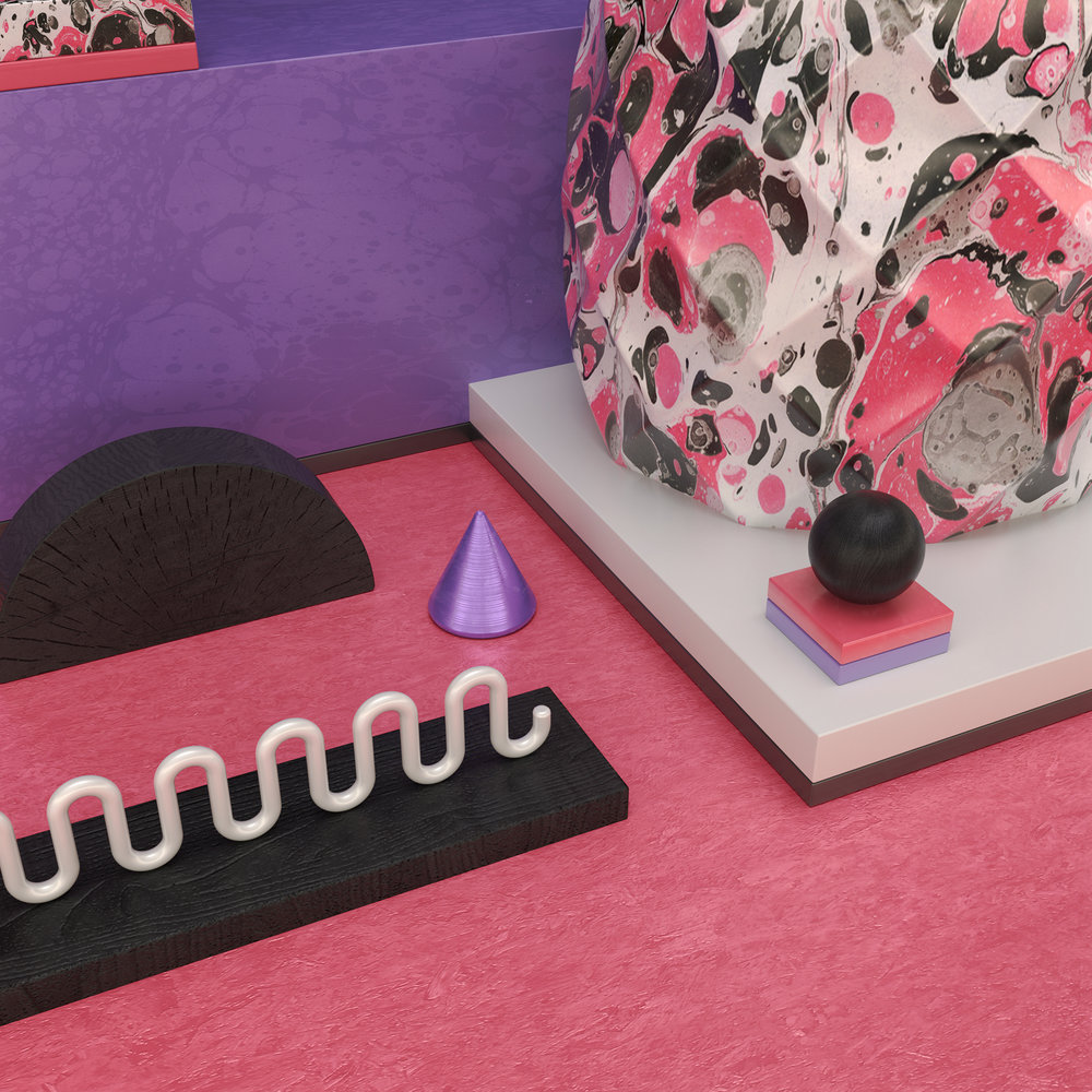 Computer graphics artwork of a pink desk with marble objects and black wood accessories
