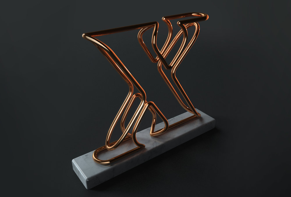 3D typography: computer generated X letter in copper on marble base