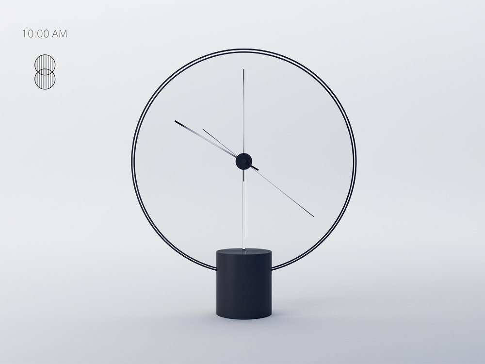 Yicong Lu minimalistic clock telling the time: 10AM