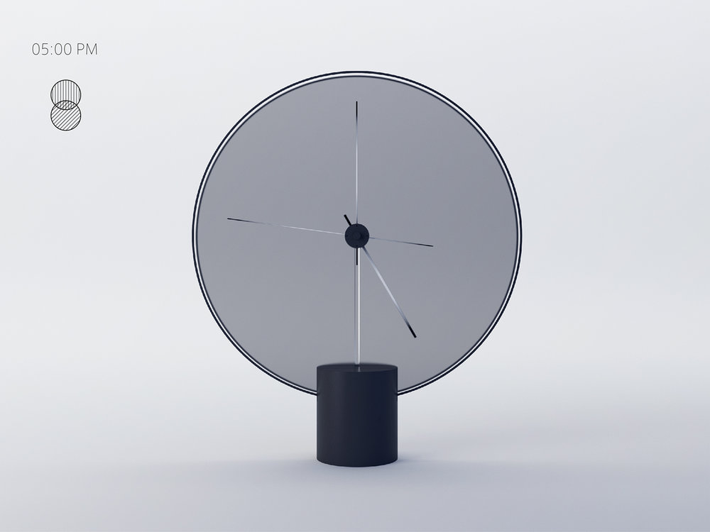 Minimalistic clock changes colour during the time of the day